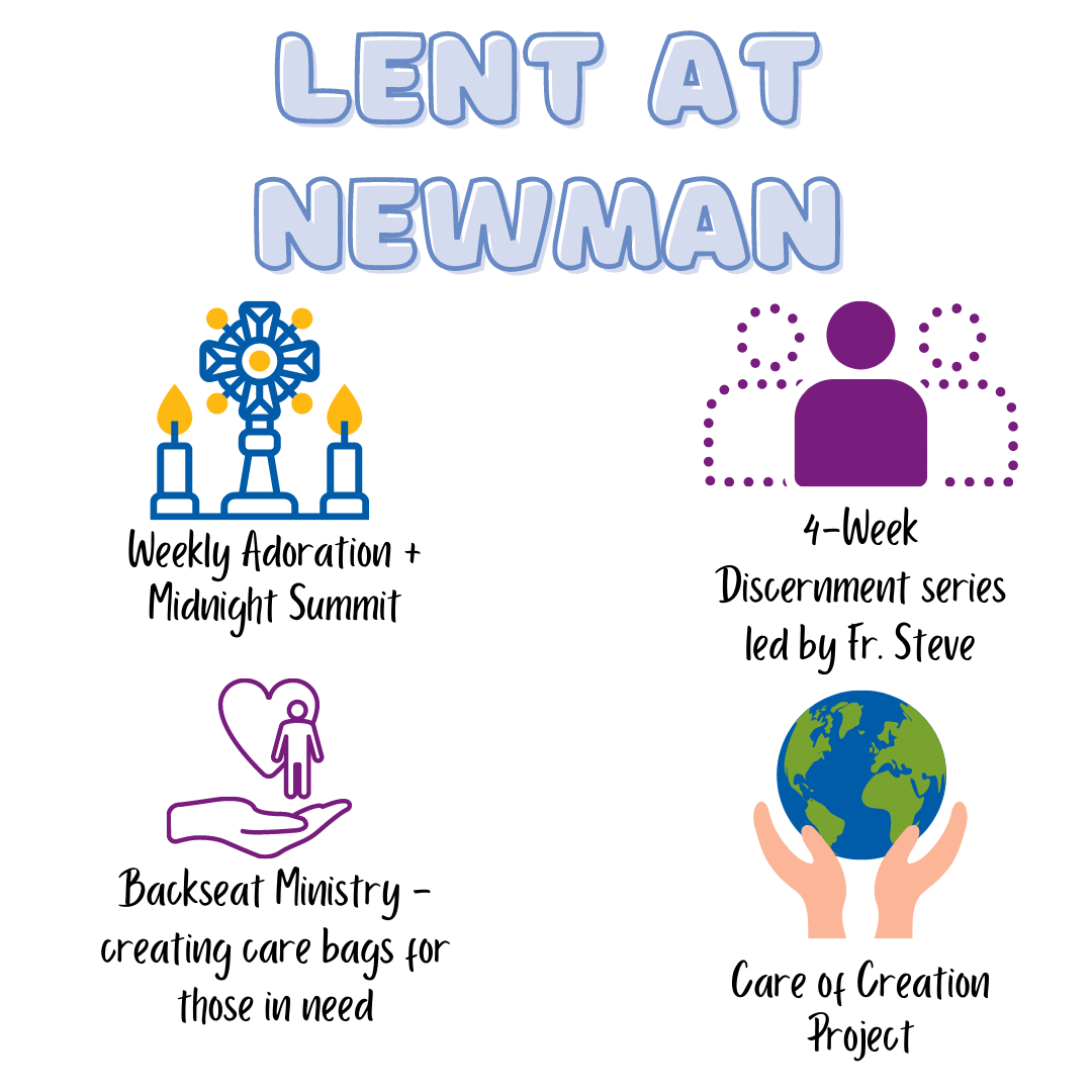 Infographic with pillars of Lent at Newman, including Adoration, Discernment, Backseat Ministry, Care of Creation.